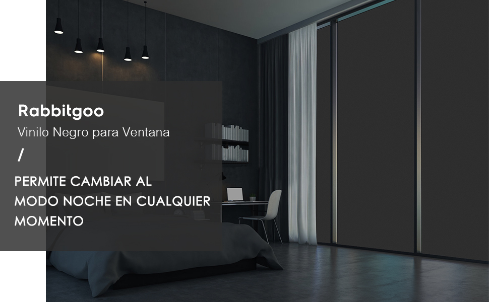 rabbitgoo Vinilo Negro para Ventana para Cristal Vinilo Adhesivo Bloquear 100% del Luz Película para Ventana Láminas Electrostaticas 44.5x200CM: Amazon.es: Hogar