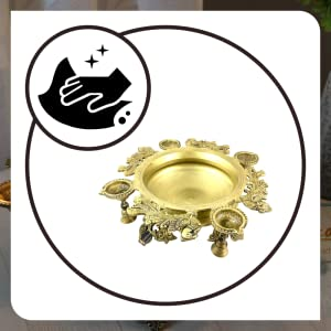 B07R7V22RS- Two Moustaches Peacock Design Brass Urli with Four Diyas