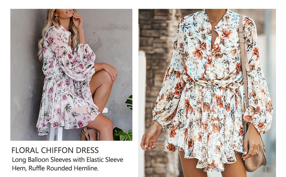 Women's Long Sleeve Button up Tie Waist Ruffle Floral Chiffon Dress