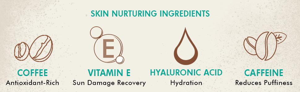 coffee vitamin e sun damage recovery hyluronic acid hydration caffeine reduces puffiness