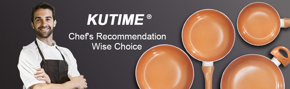 KUTIME Cookware Set Non-stick Frying Pans Set Ceramic Coating Soup Pot, Milk Pot, Copper Aluminum
