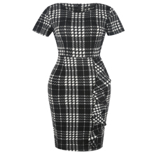 Women's Classic Plaid Short Sleeve Work Pencil Dress