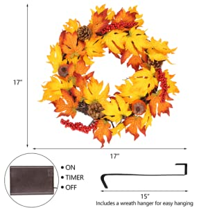 """17"""" Fall Wreath with Metal Hanger"""