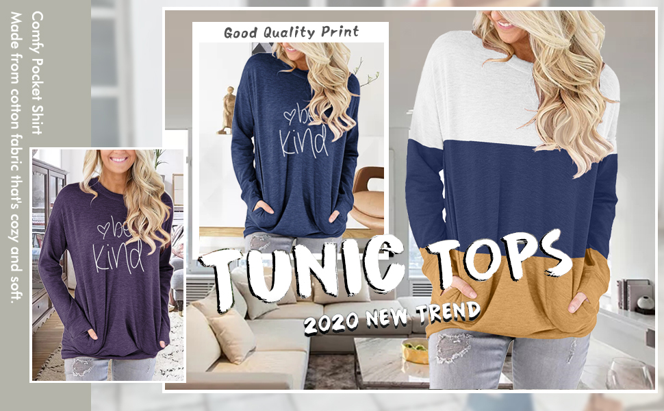 onlypuff Casual Loose Fit Pocket Shirt Round Neck Tunic Tops