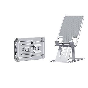 cell phone holder desk desk  stand speaker accessories women office tripod mount slim metal wallet