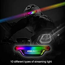 motorcycle helmet light comes with 10 Different types of Streaming Light