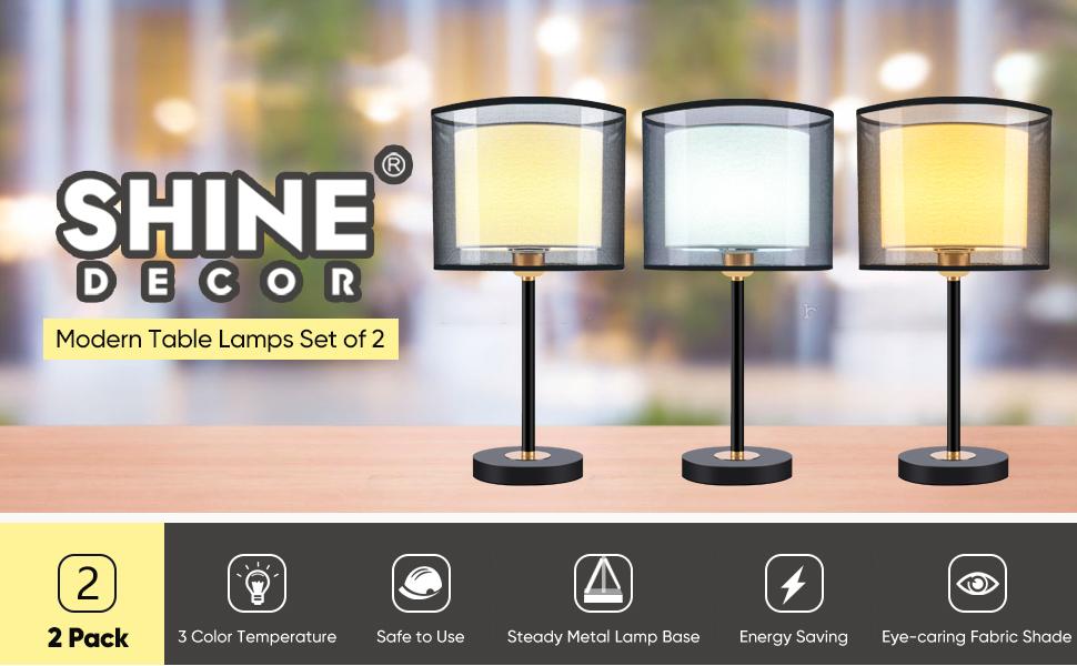 Shine Decor Double Shade LED Bedside Table Lamps