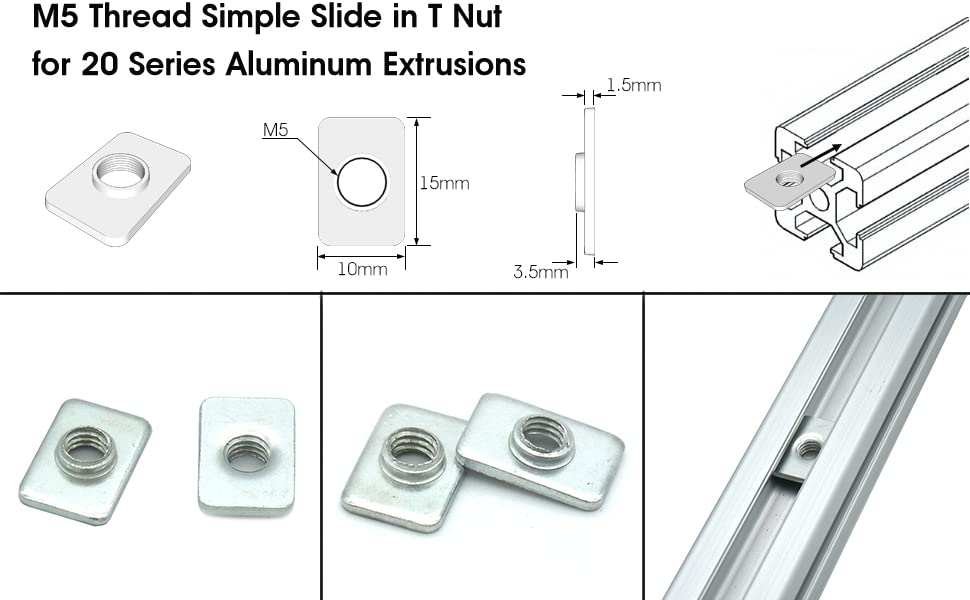 Aluminium profile fastening fittings hardware 20mm aluminum extrusion universal simple economy T nut