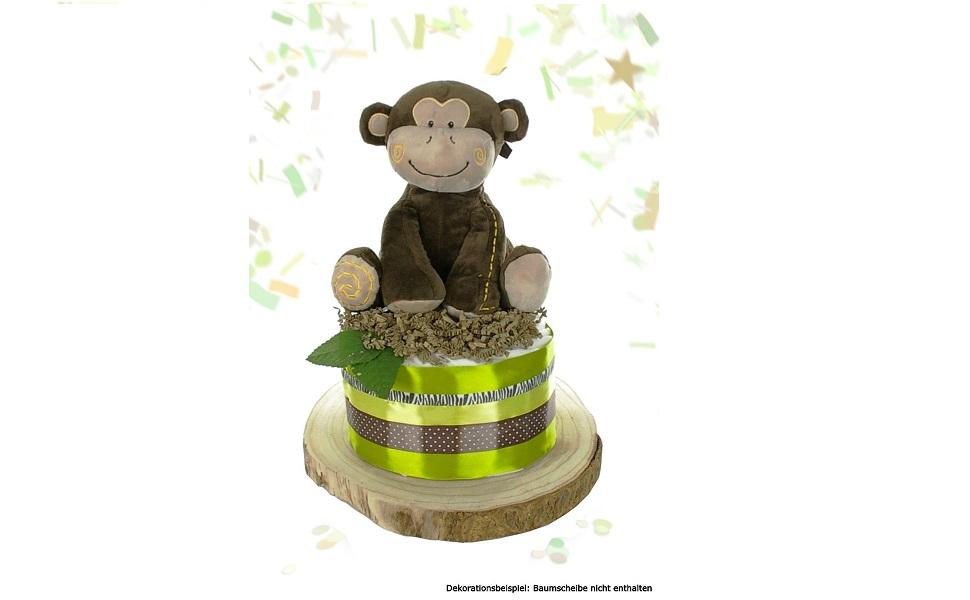 Geschenk zur Geburt Babyparty Babyshower gro/ße Affen Spieluhr gr/ün dubistda/© Windeltorte neutral SAFARI f/ür Baby Jungen und M/ädchen