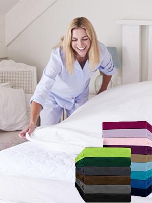 Bettlaken Spannbettlaken Betttuch uni unifarben baumwolle flausch einfarbig grau beton