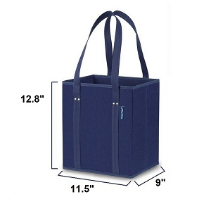 Heavy duty box style compact reusable grocery bags