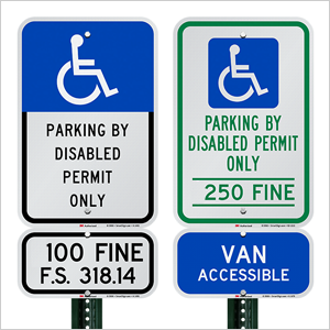Reserved and Handicapped Parking Signs, Heavy-duty Aluminum Sign, Florida-compliant