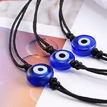 3 black string evil eye bracelets