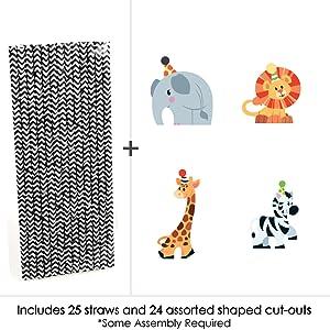 Baby Giraffe Straws Party Straws Baby Shower Giraffe Decoration Safari Jungle Circus Zoo Animal Party Giraffe Straws