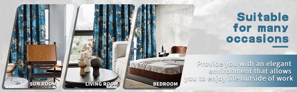 Blue floral drapes for bedroom