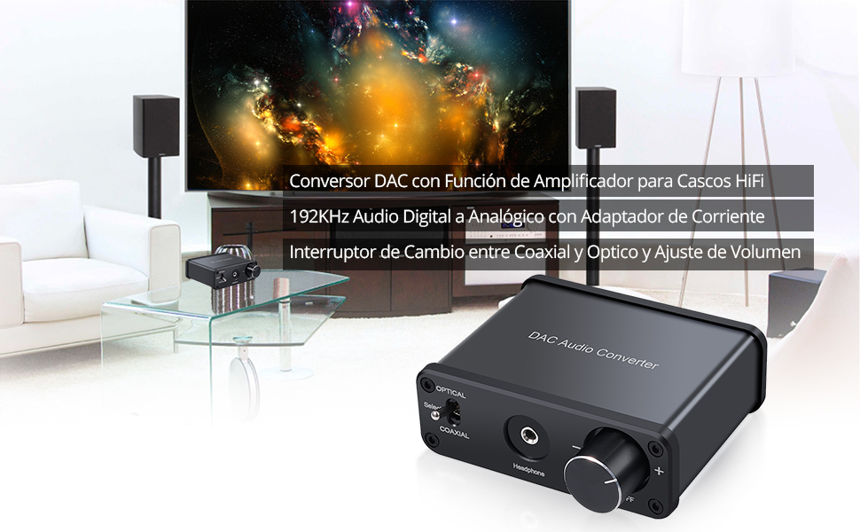 192kHz Convertidor de Audio Digital a Analógico con Amplificador para Auriculares Coaxial Optico Toslink a RCA L / R Jack 3.5 mm Soporta PCM Volumen Ajustable para HDTV, PS4, HD DVD, Blu-ray: