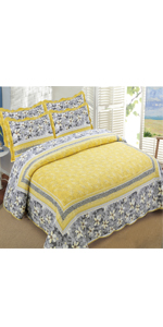 Yellow Bedspread coverlet quilt set
