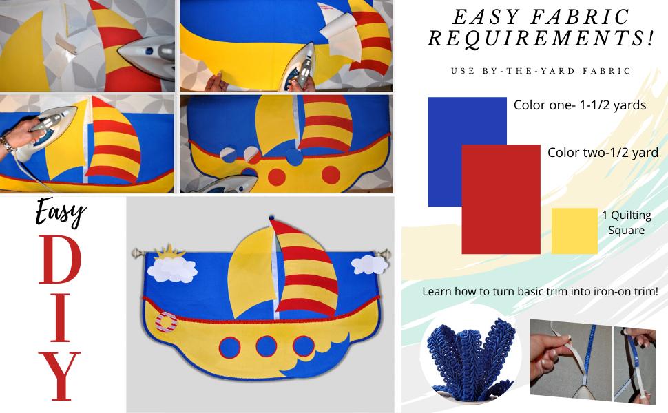 DIY children's valance window treatment kids bedroom baby nursery toddler playroom decorating kit