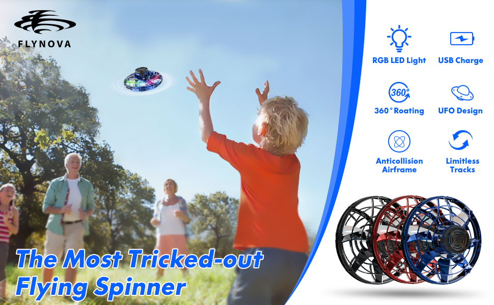 with 360/° Rotating Red Flynova Hand Operated Drones for Kids or Adults -Scoot Hands-Free Mini Drone Helicopter Flying Ball Drone Easy Indoor Outdoor Toys Great Flying Drone Gift for Boys//Girls