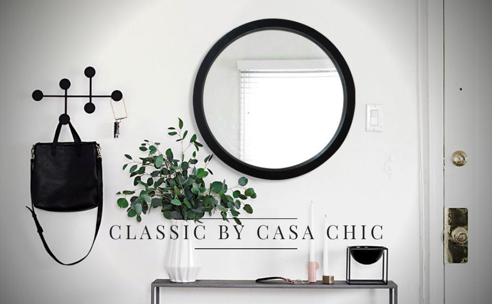 Classic by Casa Chic Blanco 60 cm de di/ámetro Espejo de Pared Redondo Madera Maciza