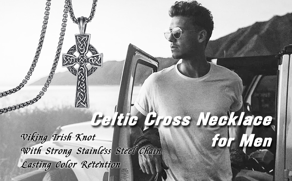 Celtic Cross Necklace for Men Viking Irish Knot Serenity Prayer Pendant Crucifix Mens Jewelry