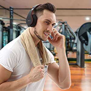 Mkay bluetooth headphones wireless over ear black-red-EBC-5