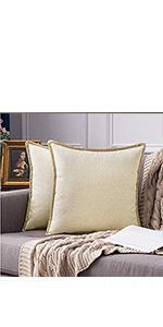 MIULEE Decorative Square Throw Pillow Covers Set Cushion Case Sofa Bedroom Car beige