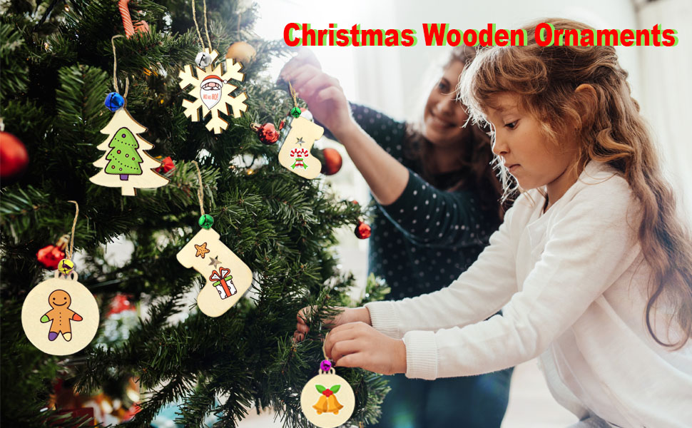 HOMOR 40Pcs Paintable Blank Natural Wood Slices with 32ft Jute Twine 40Pcs Scrub Bells 6Pcs Color Pens DIY Crafts Christmas Ornaments Decorations Gift Unfinished Christmas Wooden Ornaments 86Pcs Set