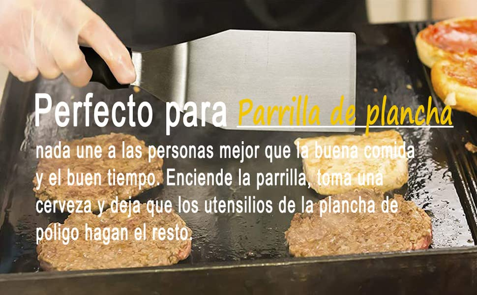 POLIGO 10 Piezas Juego de Accesorios de Plancha de Acero Inoxidable de Grado Comercial para la Cocina Teppanyaki Grill con Parte Superior Plana ...
