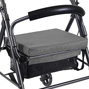 KMINA - Andadores ancianos plegable, Andadores adultos con asiento, Andadores ancianos 4 ruedas, COMFORT Gris Freno Maneta