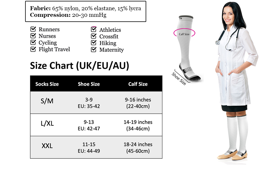 Ergonomic Fit Thin Lightweight compression socks with seamless toe for shin splint support