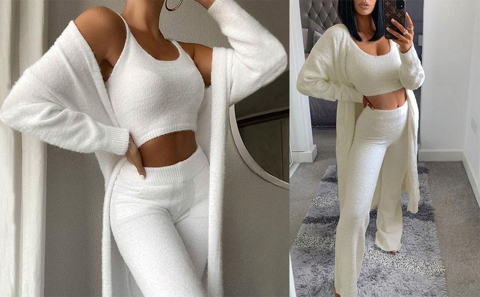 Women's Fuzzy Fleece 3 Piece Loungewear