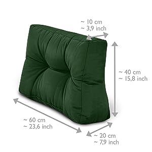 Beautissu Cojines para palés Eco Style - Cojín de Respaldo 120x40x10-20 cm : Natural - Cojín: Respaldo (1 Pieza)
