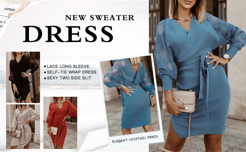 Lace sweater dress mini