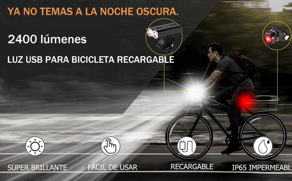 Nestling®Luz Bicicleta,Luz Bicicleta LED Recargable USB con 4 ...