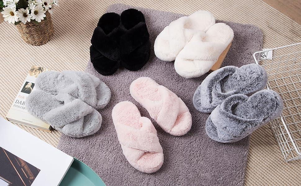fluffy womens slippers