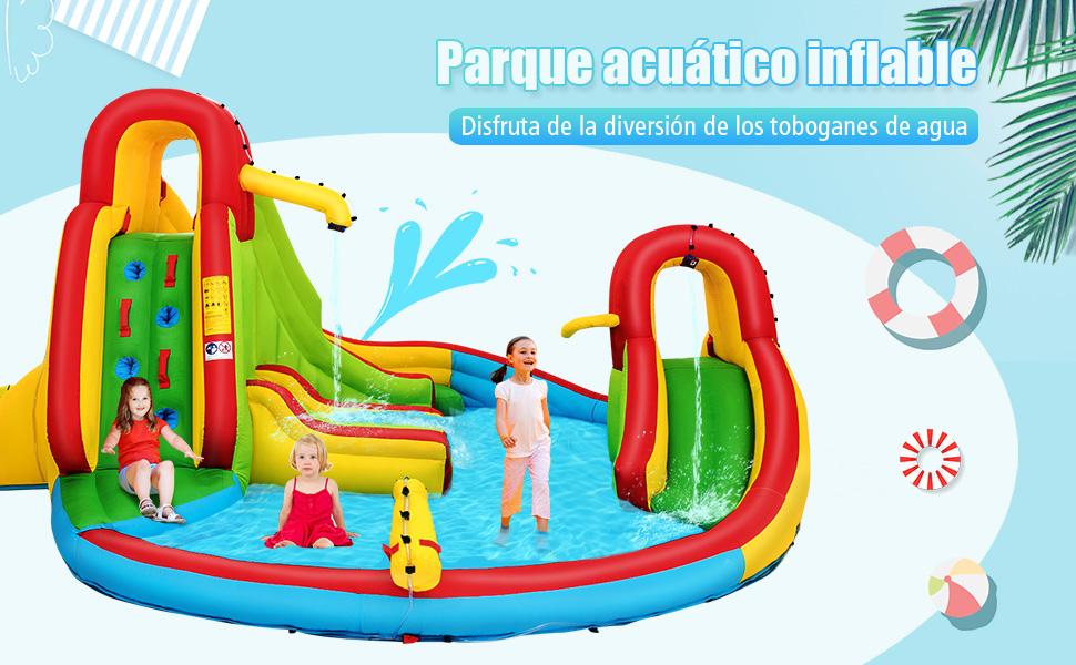 COSTWAY Castillo Hinchable con Piscina de Juego y 2 Toboganes para Infantil Centro de Juego Parque Acuático Sin Soplador: Amazon.es: Juguetes y juegos