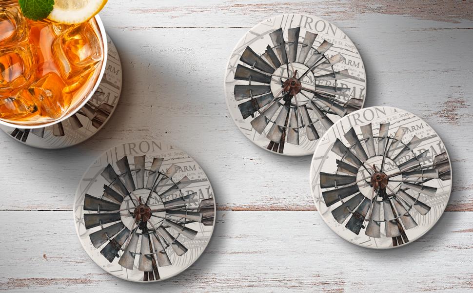 Amazon Com Counterart Absorbent Round Stone Coaster 4 Pack Farmland Windmill Home Kitchen