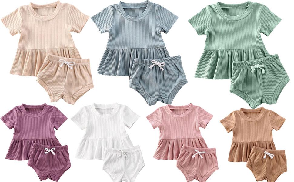 2PCS Infant Toddler Baby Girls Ribbed Cotton Ruffle Tshirt Top And Drawstring Short Summer Outfits