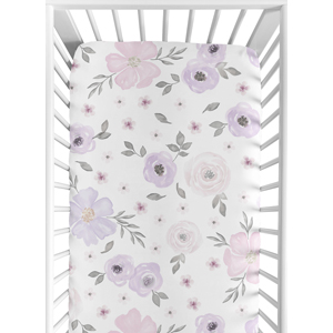 Lavender Purple, Pink, Grey and White Baby or Toddler Fitted Crib Sheet