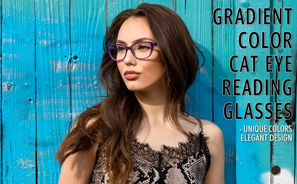 cat eye reading glasses for women purple ombre color on model
