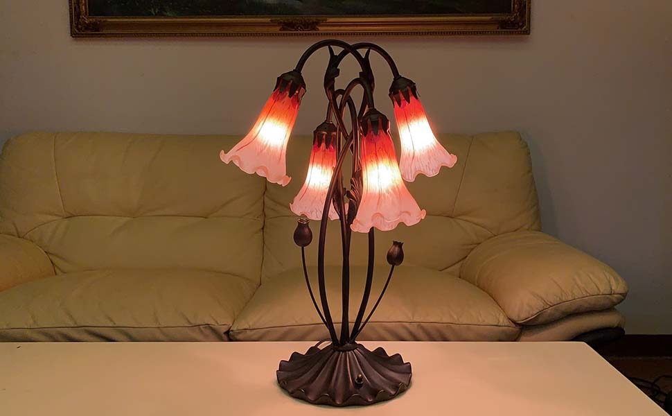 Bieye L30699 Lily Flowers Tiffany Style Blown Glass Accent Table Lamp Night Light With 4 Inch Wide Glass Shade For Bedside Living Room Bedroom 4 Lights Orange Amazon Co Uk Kitchen Home