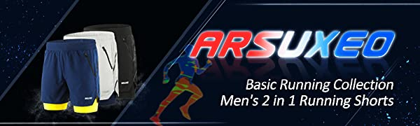 ARSUXEO Men's running shorts' banner