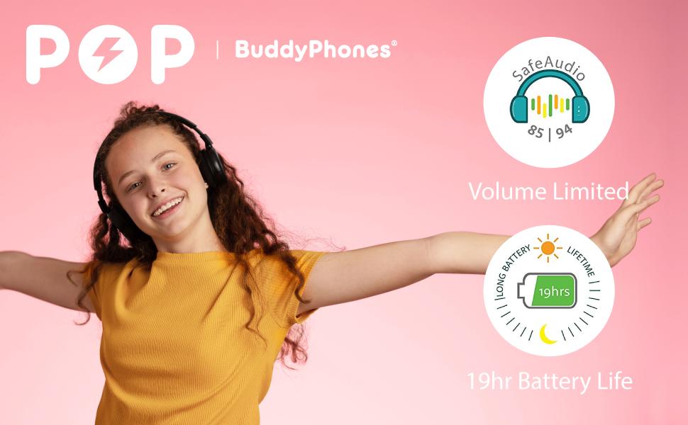POP BuddyPhones Teen Over Ear Headphones