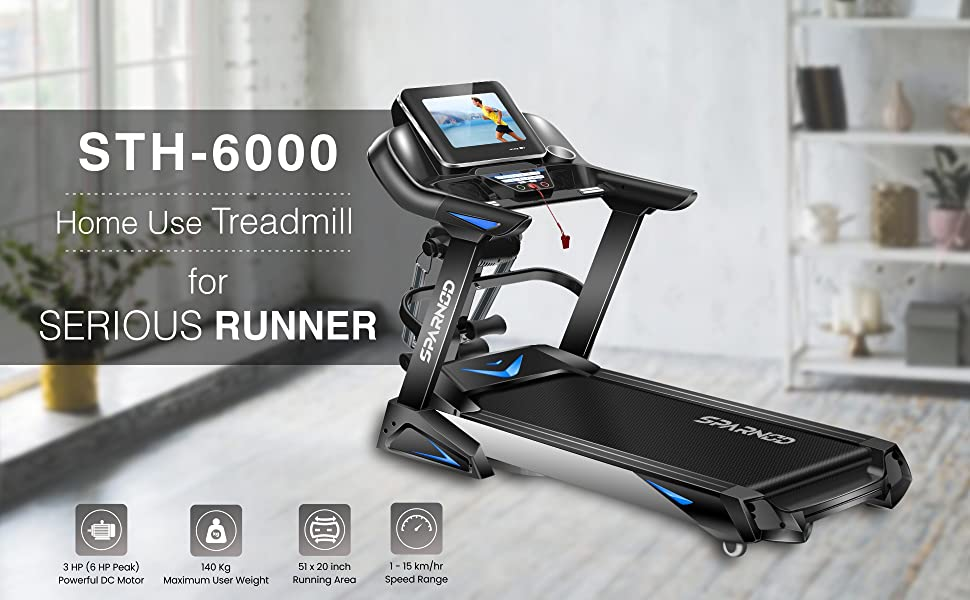 Sparnod Fitness STH-6000 Automatic Foldable Motorized Treadmill Home Use Touch-Screen Auto Incline