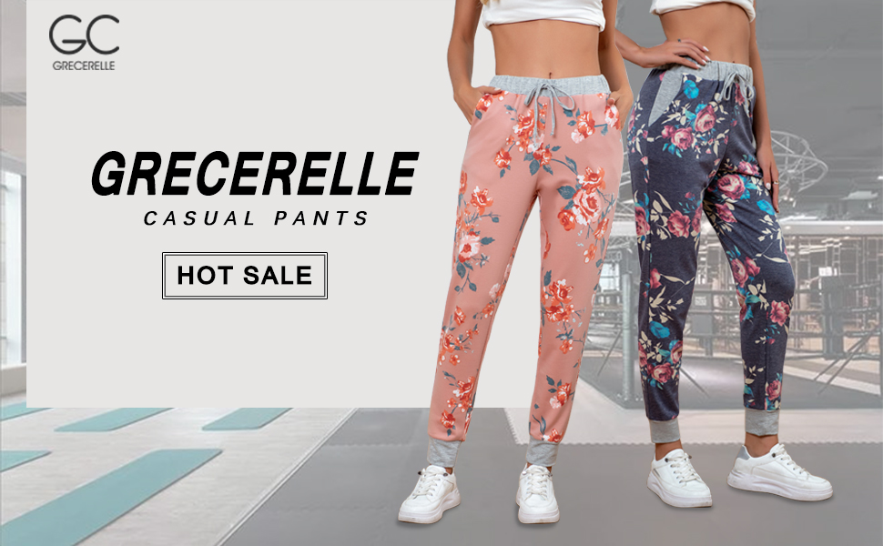 Women's Comfy Pajama Pants Drawstring Wide Leg Lounge Palazzo Pants Casual Stretch Floral Print Pant