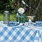 Cotton Checked Tablecloth Gray and Cream