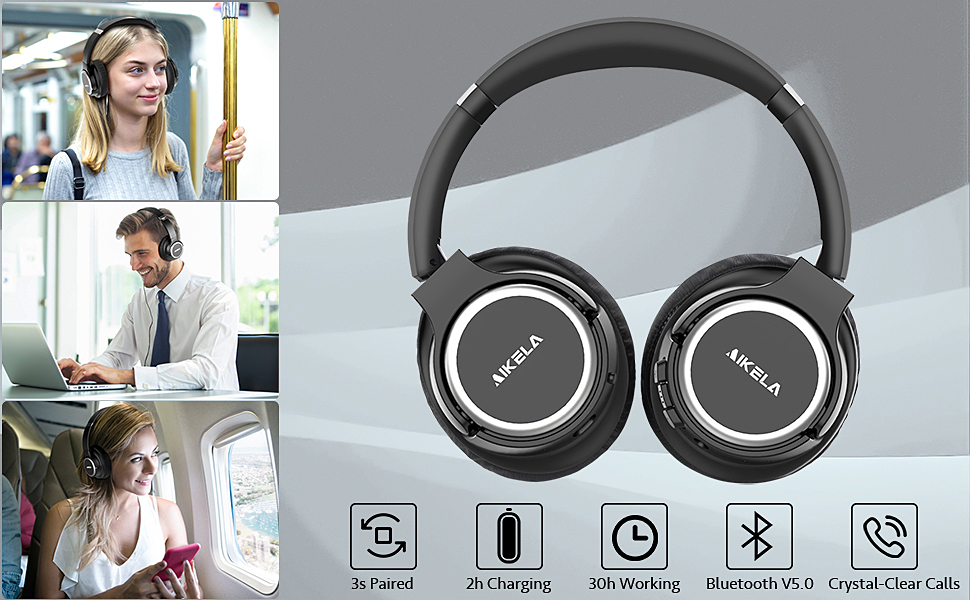 wireless ANC headphones  Active Noise Cancelling Headphones, AIKELA Wireless Bluetooth Over Ear Headset with Deep Bass Hi-Fi Sound Soft Earbuds 30H Playtime Fast Charging ANC Headphone for Online Class Travel Home Office eefc394f eb8e 4cbf a88f 53c20f50d123