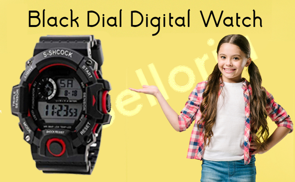 black dial digital watch