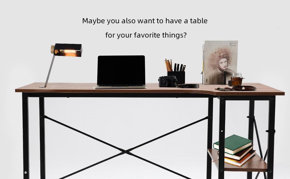 SEATZONE Folding Computer Desk, Study Desks, Working Desktop for Home Office, Corner Laptop Table
